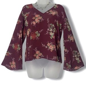 Forever 21 Floral Chiffon Bell Sleeve Floral Top